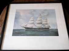VINTAGE FRAMED GLAZED 1954 PRINT SHIP SOVEREIGN OF THE SEAS NEW YORK #2